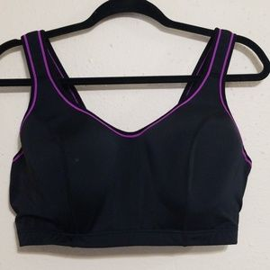 Cacique  40DD Sports Bra black purple
